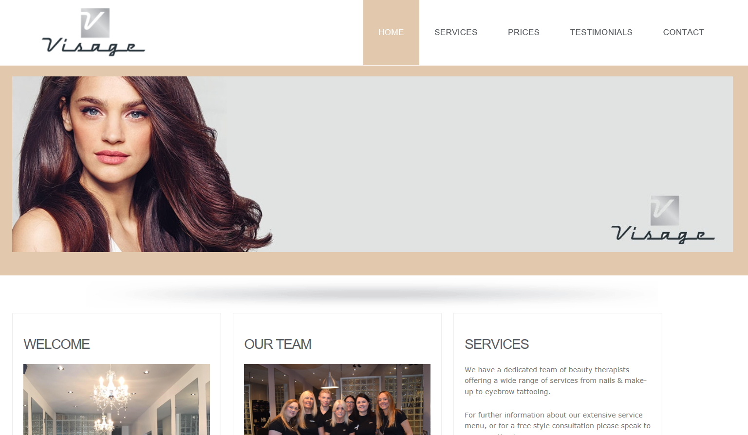 Visage hair and beauty website
